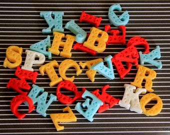 Edible Custom fondant Letters Cake/Cupcake Party toppers - Set of 12