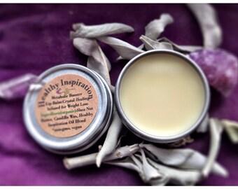 Organic Vegan Lip Balm / Healthy Inspiration .25oz tin/ BeeFree Lip Balm / Shea Lip Butter / Crystal Healing Metabolism Boosting Weight Loss