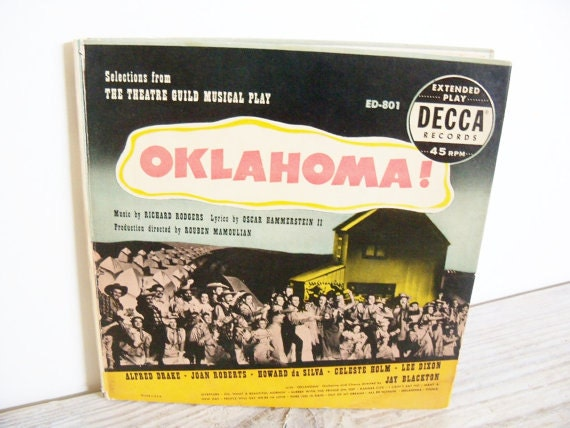 Oklahoma Rodgers Hammerstein Celeste Holm Antique Record 1953 Decca 45 Boxed Set