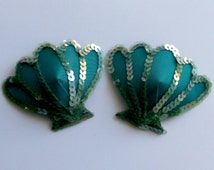 MERMAID Teal & Seagreen Cockle Shell Nipple Pasties Covers Burlesque