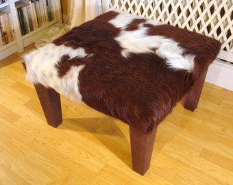 cowhide footstool ottoman real cowhide. Black Bedroom Furniture Sets. Home Design Ideas