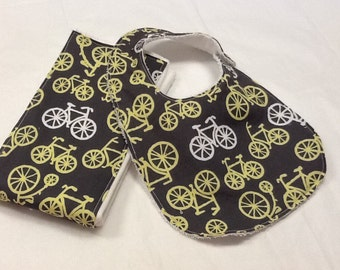 Baby bib and burp cloth set in Michael Miller bicycles in citron