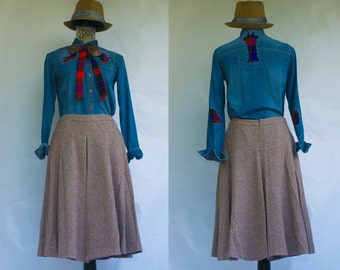 Vintage Agnona Marled Wool A Line Skirt. Made In Italy. M/L