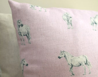 "Ponies Prancing on Pink or Blue 18"" Cushion (45x45cm)"