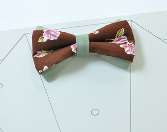 Chocolate Brown Bow Tie with Roses. Asparagus Green Bowtie Men's pre tied bow tie Bow tie for men Pre-tied bow tie Rose print Wedding bowtie