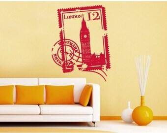 London Stamp wall decal, sticker, mural, vinyl wall art