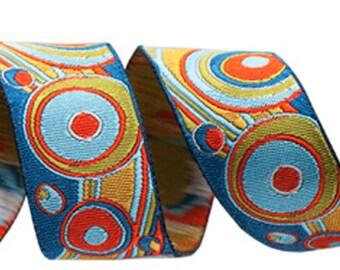 """7/8"""" Teal and Orange Circles and Waves Design Brocade Ribbon from Renaissance Ribbon RIB14810"""