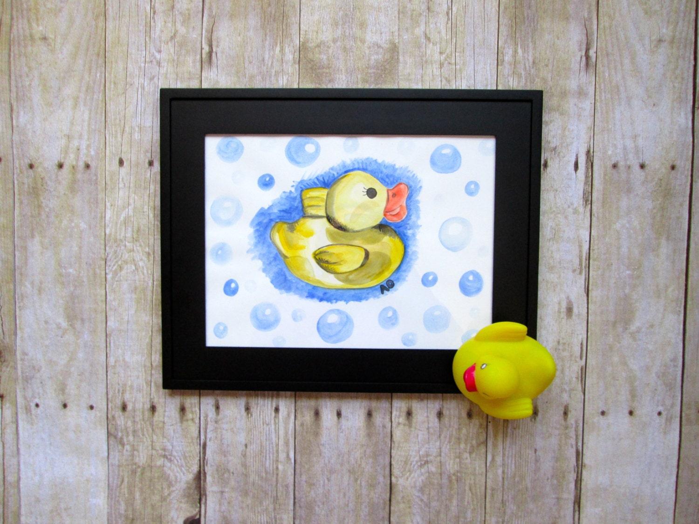 Rubber duck 9x12 original watercolour painting bathroom decor for 9x12 bathroom designs