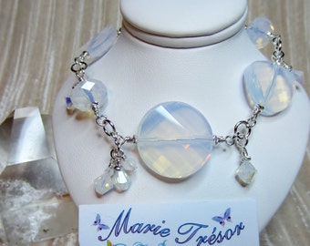 White opal rondelle & twisted round crystal bracelet
