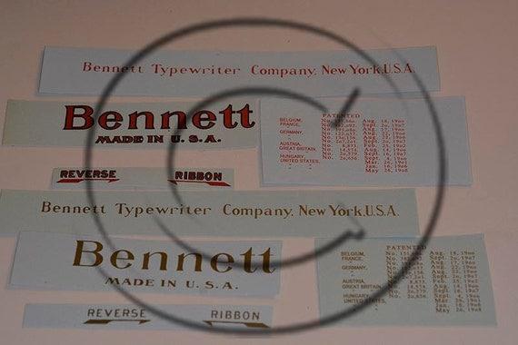 Bennett Typewriter Water Slide Decal set
