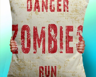 Danger Zombies Run - Cushion / Pillow Cover / Panel / Fabric