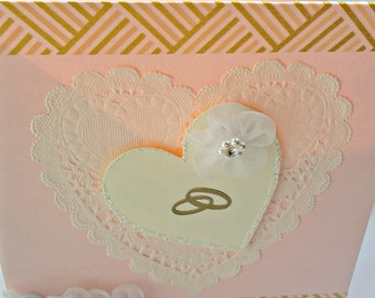 Handmade romantic card for a wedding or engagement wishes
