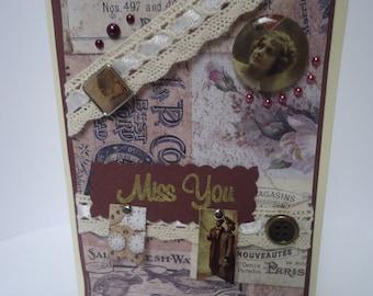 "Handmade vintage style ""Miss you"" brown card."
