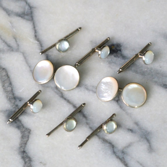 Mother Of Pearl Cufflinks And Shirt Studs Set Double Ended