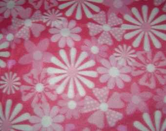 Pink flower breast cancer fleece blanket