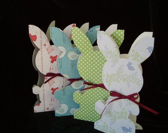 Hand Made Bunny Greeting Cards, Hand Cutout Bunny Cards, Bookmarks - by Shenyue