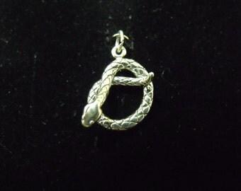 Sterling Silver Rattlesnake 3D Charm/Pendant  - .925  3 grams