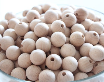 20 mm (0.79 inches) NATURAL Unfinished round wooden beads / BEECH WOOD / wooden beads for jewelry craft projects