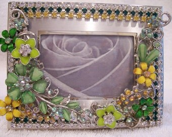Silver Tone Photo Frame Designed with a Mix of Vintage and New Jewelry. Shades of Green, AB and Yellow Colored Rhinestones.