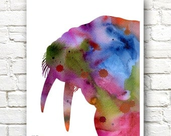 Walrus Art Print - Abstract Watercolor Painting - Wall Decor