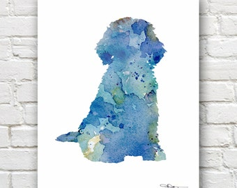 Blue Cockapoo Art Print - Abstract Watercolor Painting - Wall Decor