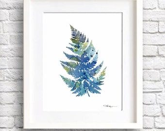 Blue Fern Watercolor Art Print - Abstract Painting - Botanical Art - Wall Decor