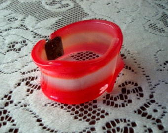 Vintage Plastic Red and White Cuff Bracelet 1960s