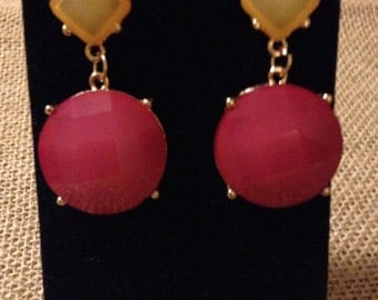 Yellow and Pink Colorblock Earrings