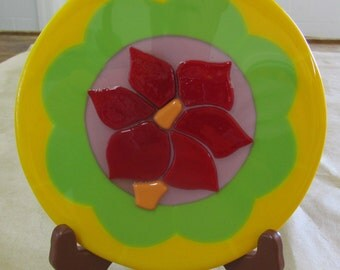 """Stained Glass Tile Picture """"Raised Red Flower""""  Fused Art"""