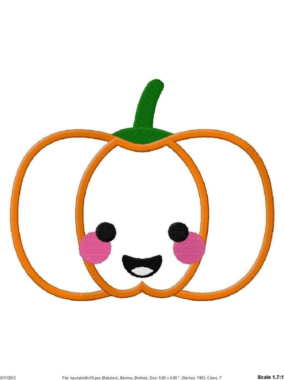 Cute pumpkin applique embroidery design