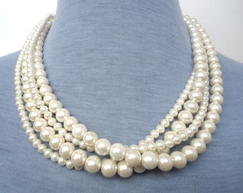 Pearl Necklace,  Ivory Pearl Necklace ,Glass Pearl Necklace,Four Strands Pearl Necklace,Wedding Jewelry,Bridesmaid necklace,Wedding necklace