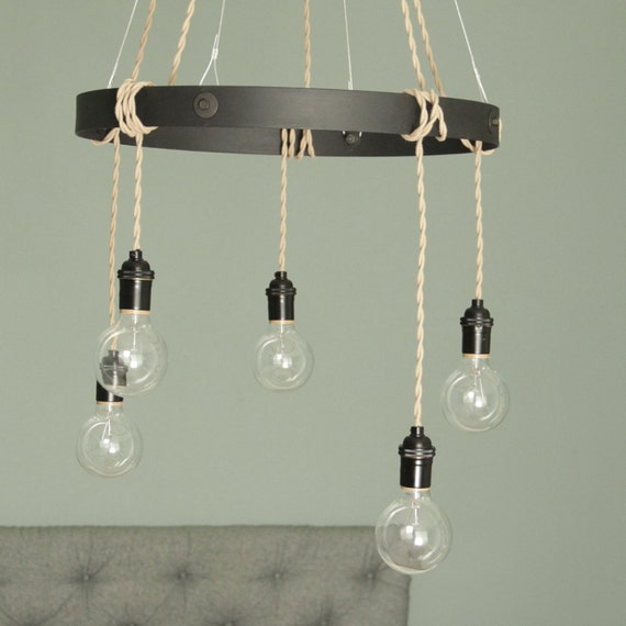 items similar to exposed bulb pendant chandelier lighting. Black Bedroom Furniture Sets. Home Design Ideas