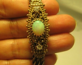 Vintage 14K Solid Gold w/Opal & Diamond Watch