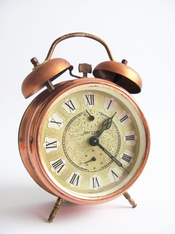 Vintage Alarm clock German Jerger Alarm Clock Large Copper