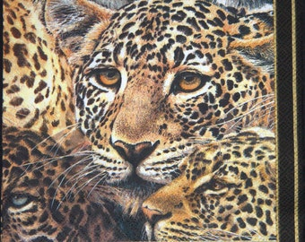 "African paper napkin serviette No 9. Leopard. Ideal for decoupage, collage, scrapbooking, paper crafts. Size: 13"" x 13""(33cm x 33cm)"