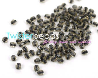 Czech firepolished / faceted glass beads 4mm Black Lined Diamond (50)