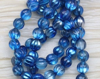 25pcs 8mm Capri Blue / Silver Melons Czech Glass Beads. Summer beads. bold iris color