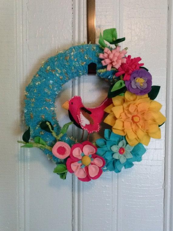 Teal Yarn Spring Bird Wreath  Summer Spring Flora  Bright  felt wreath