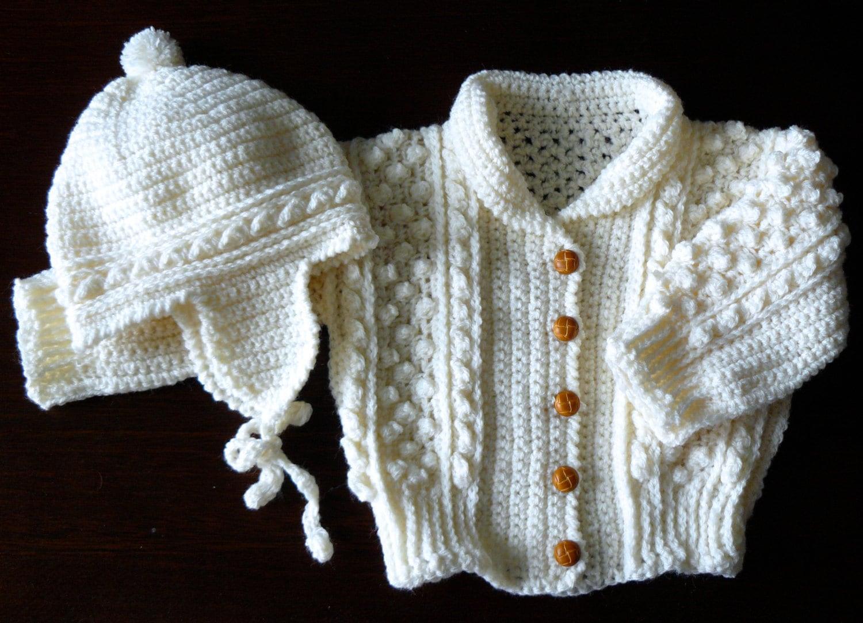Handmade Baby Gifts Ireland : Irish sweater hat crocheted handmade infant by