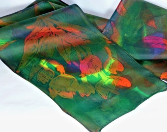 Hand painted Habotai silk scarf tulips, yellow, green, blue, hand dyed one of a kind silk scarf tulip silk scarf