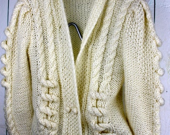Vintage Cream Cable Knit Sweater Double Breasted Buttons Beldoch Popper