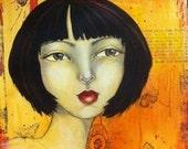 "Mixed Media Original Art Print of Whimsical Face ""Eve"""