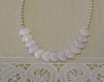 Vintage Pear and Seashell Necklace
