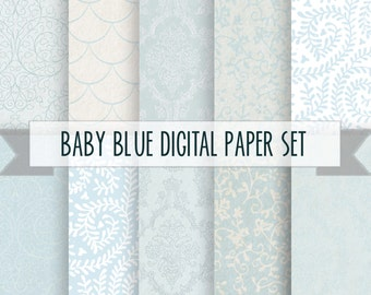 Baby blue DIgital Paper Pack / Instant download / 10 Digital Papers - for Crafts, Scrapbooking, Invitations etc