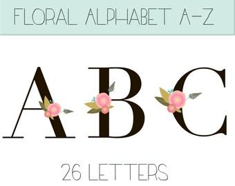 Floral alphabet clip art, floral letters, monogram letters