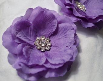 Shoe Clips- Light Purple Silk Flower with rhinestone center