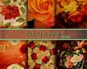 Water color Roses Floral Digital Paper, vintage roses, floral digital image, vintage backgrounds, texture  dsg010