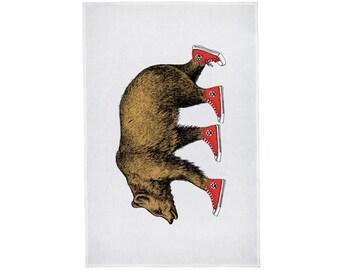 Bear Patrol in Sneakers Linen Tea Towel