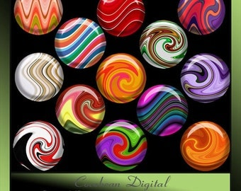 Digital Waves & Twirls 1inch circle button collage for Instant Download