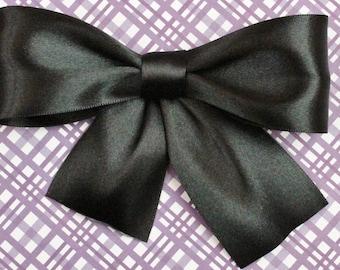 Black Satin Hair Bow - White Satin Hair Bow - Brown Satin Hair Bow - Blue Satin Hair Bow - Red Satin Hair Bow - Cranberry Satin Hair Bow
